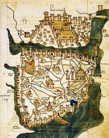Map of Constantinople (1422) by Florentine cartographer Cristoforo Buondelmonti, showing (a greatly enlarged) Pera trading quarter at the north of the Golden Horn, with the peninsula of Constantinople to the south.