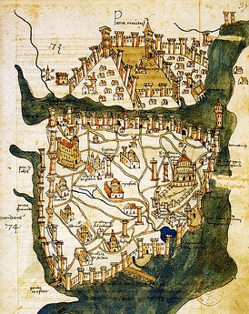 The oldest surviving map of Constantinople, by Cristoforo Buondelmonti, dated to 1422. The fortifications of Constantinople and of Galata, at the northern shore of the Golden Horn, are prominently featured. The water trench in front of the Theodosian walls at the western end of the city is also depicted, as well as the Maiden's Tower in the middle of the Bosporus.