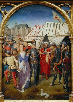 Martyrdom of Saint Ursula, by Hans Memling. The turbaned and armored figures represent Huns.