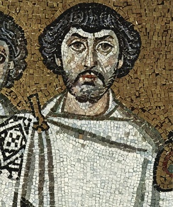 A member of the retinue of Emperor Justinian I in the mosaic in the Church of San Vitale, Ravenna, which is usually identified with Belisarius
