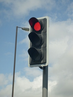 An LED 50 watts traffic light in Portsmouth, UK