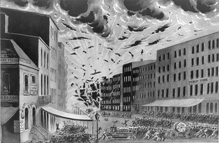 Explosion of a warehouse on Broad Street during the Great New York City Fire of 1845, July 19, 1845