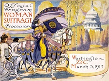Official program of the Woman Suffrage Parade of 1913. In the actual march, the woman on horseback was Inez Milholland.[173]