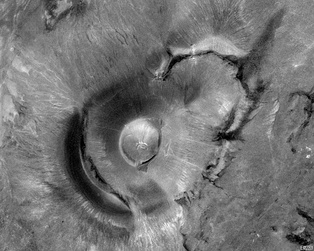 Satellite view of Roden Crater, the site of an epic artwork in progress by James Turrell outside Flagstaff, Arizona
