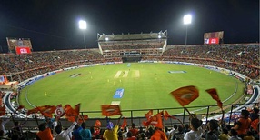 Crowd during a match of the 2015 IPL season in Hyderabad, India.