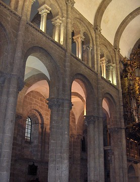 The cathedral of Santiago de Compostela, Spain, has large drum columns with attached shafts supporting a barrel vault.