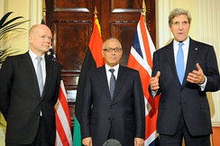 UK Foreign Secretary William Hague with Libyan Prime Minister Ali Zeidan and U.S. Secretary of State John Kerry, November 2013