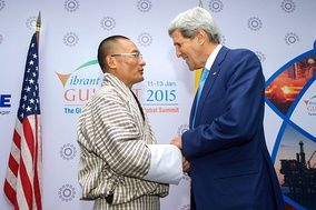 Prime Minister of Bhutan Tshering Tobgay with U.S. Secretary of State John Kerry in 2015.[67]