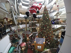 Christmas decorations abound in many shopping malls