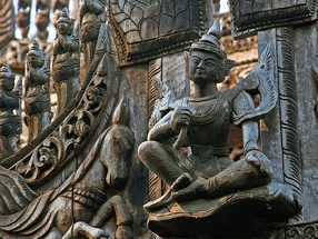 Wood carving of Lokanat at Shwenandaw Monastery, Mandalay, Burma