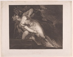 Sin Pursued by Death (John Milton, Paradise Lost, Book 2, 787, 790-792) November 27, 1804, Moses Haughton the younger, after Henry Fuseli