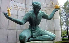 The Coleman A. Young Municipal Center houses the City of Detroit offices; shown here is The Spirit of Detroit statue