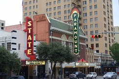 The State Theater and Paramount Theatre on Congress Avenue in Downtown Austin