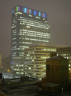Target Plaza South, a portion of the Target Corporation headquarters complex in downtown Minneapolis; the building originally featured the Target Light System, created by using 3M light pipes[69] but was replaced by more energy-efficient LEDs in 2011.[70]