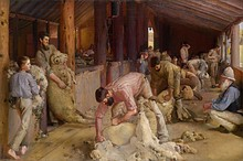 Shearing the Rams (1890) by Heidelberg School artist Tom Roberts