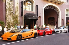 Exotic cars outside the Hotel Valencia, in Santana Row, San Jose.