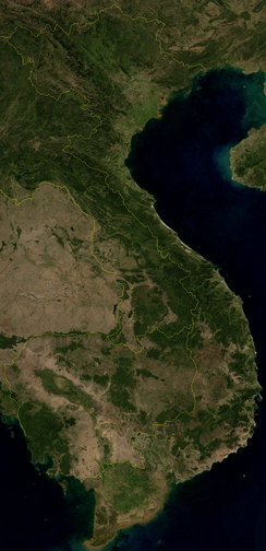 Vietnam geographical feature as seen from NASA satellite image in 2004.