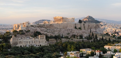 Acropolis of Athens, with the Roman-era Odeon of Herodes Atticus seen on bottom left