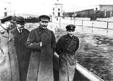 Stalin and Nikolai Yezhov, head of the NKVD. After Yezhov was executed, he was edited out of the image.