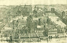 Conjectural restoration of Westminster during the reign of Henry VIII[6] St Stephen's Chapel in the centre dominates the whole site, with the White Chamber and Painted Chamber on the left and Westminster Hall on the right. Westminster Abbey is in the background.