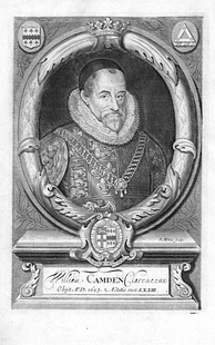William Camden (1551–1623), author of the Britannia, wearing the tabard and chain of office of Clarenceux King of Arms. Originally published in the 1695 edition of Britannia.