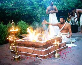 A Śrauta yajna being performed in South India