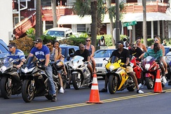 Riders in traffic at the 2008 Atlantic Beach Bikefest