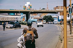 Hitchhiker looking for transport in Maboneng, Johannesburg