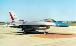 149th Fighter Squadron F-16C 86-0244 in World War II 328th Fighter Squadron markings during 50th anniversary of unit, 1997