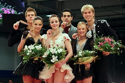 The 2014 medalists in the ice dance event