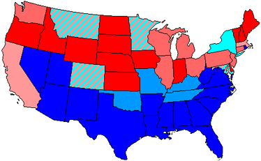 House seats by party holding plurality in state     80+ to 100% Democratic    80+ to 100% Republican     60+ to 80% Democratic    60+ to 80% Republican     Up to 60% Democratic    Up to 60% Republican