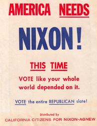 Text on automobile trash bag given away by the Nixon campaign in California, 1968