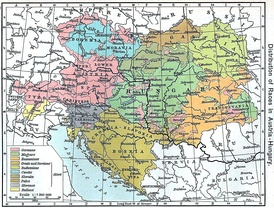 """Distribution of Races in Austria–Hungary"" from the Historical Atlas by William R. Shepherd, 1911."