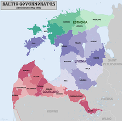 The Baltic German-controlled Baltic governorates in the Russian Empire - comprising current Northern Estonia, Southern Estonia and Northern Latvia