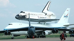Space Shuttle Discovery stops at Barksdale on its way to the Kennedy Space Center