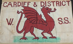 1908 banner of the Cardiff & District Women's Suffrage Society