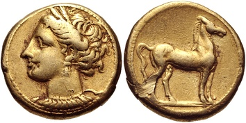 A c. 300 BC Carthaginian shekel bearing the wreathed head of Tanit and a standing horse.