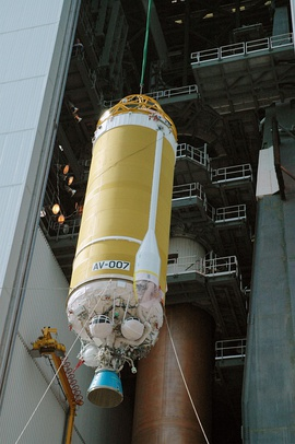 Centaur upper stage being lifted.jpg