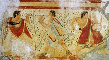 5th century BC fresco of dancers and musicians, Tomb of the Leopards, Monterozzi necropolis, Tarquinia, Italy