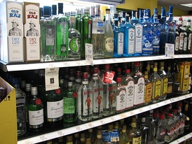 A selection of bottled gins on sale (Georgia, United States, 2010)