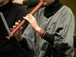 A recorder player playing a recorder