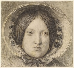 Emma Hill by Ford Madox Brown (1853), a woman wearing a later version of the poke bonnet