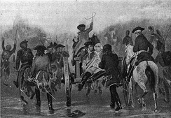 The mortally wounded General Braddock during the retreat. The British saw significant casualties in the battle.