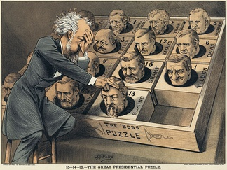 "An 1880 political cartoon depicts Senator Conkling over a ""presidential puzzle"" consisting of some of the potential Republican and Democratic nominees as pieces of a sliding puzzle."