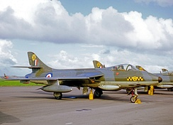 Operational Hawker Hunter F.6 of No. 63 (Shadow) Squadron at its RAF Chivenor base in 1969.
