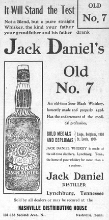 Ad for Old No. 7 from a May 1908 issue of The Nashville Globe