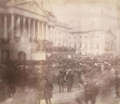 Photograph of James Buchanan's 1857 presidential inauguration at the U.S. Capitol; earliest known inaugural photograph.