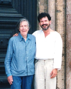 John Cage (left) and Michael Bach in Assisi, Italy, 1992