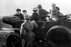 Lenin with his wife and sister in a car after watching a Red Army parade at Khodynka Field in Moscow, May Day 1918
