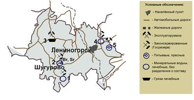 Карта-схема месторождений подземных вод и лечебных грязей